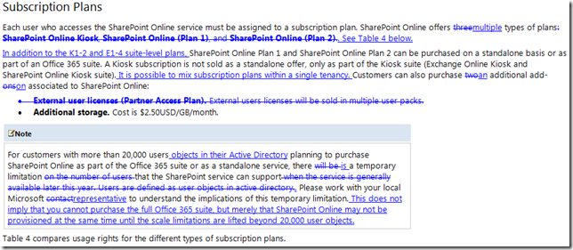 Each user who accesses the SharePoint Online service must be assigned to a subscription plan. SharePoint Online offers threemultiple types of plans: SharePoint Online Kiosk, SharePoint Online (Plan 1), and SharePoint Online (Plan 2).. See Table 4 below.